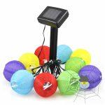 Színes szolár lampionfüzér - 10 db lampion/csomag